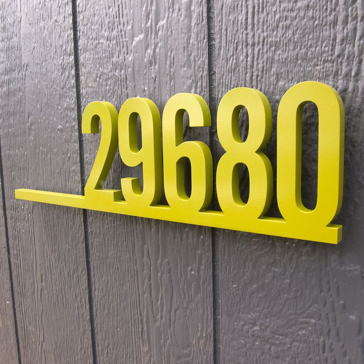 CUSTOM Retro Underline House Number Sign in Powder Coated Aluminum