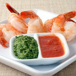 Classic Shrimp Cocktail with Red and Green Sauces Recipe | MyRecipes.com