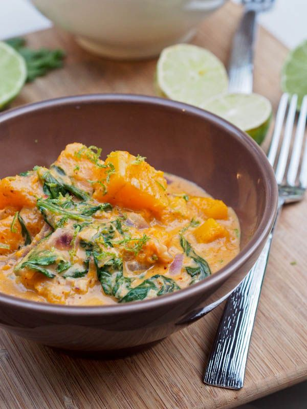 A #vegan and #gluten-free creamy and fragrant butternut #squash and #spinach coconut #curry with red curry paste. Strong and vibrant flavors of lemongrass, ginger and tamarind really bring the flavors to life.