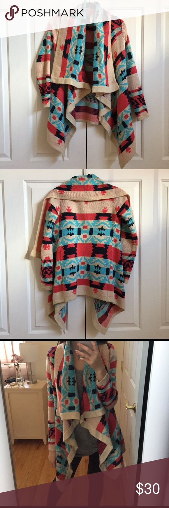 Aztec sweater Cute open front/waterfall sweater cardigan. Wears well with jeans and riding boots Sweaters