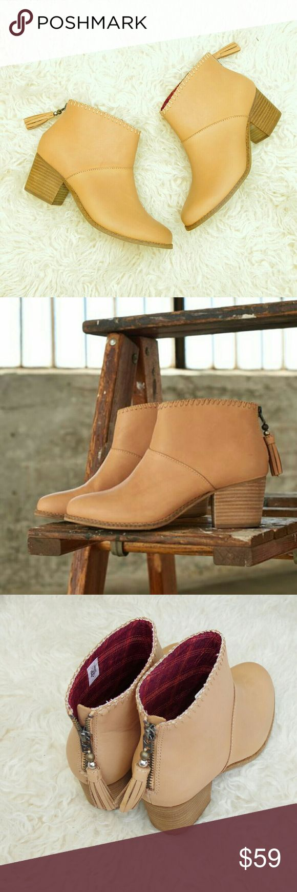 NEW TOMS Leila Vachetta Tan Leather Boots Booties Brand new full grain genuine leather booties from TOMS.  Tan vachetta color, stacked heel, and zipper back with fringe tassel.  ADORABLE. Look super cute with spring/summer dresses.  Brand new without box. TOMS Shoes Ankle Boots & Booties