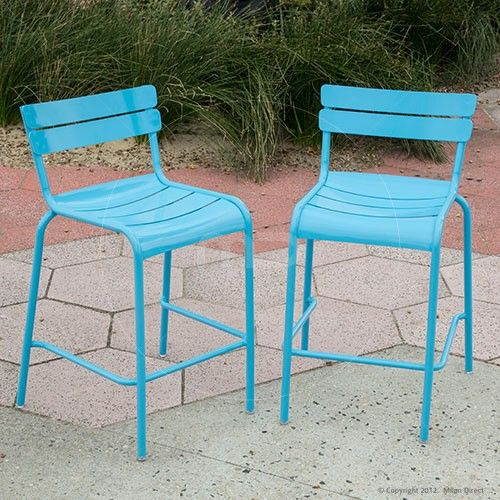 Set of 2 - Bistro Luxembourg Bar Stool Replica - 65cm- Light Blue - Metal Outdoor Furniture