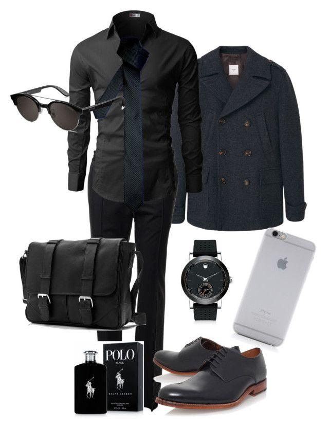 """Man in Black"" by kdorisz on Polyvore featuring MANGO MAN, Valentino, Grenson, Movado, Native Union, Ralph Lauren, Carrera, men's fashion and menswear"