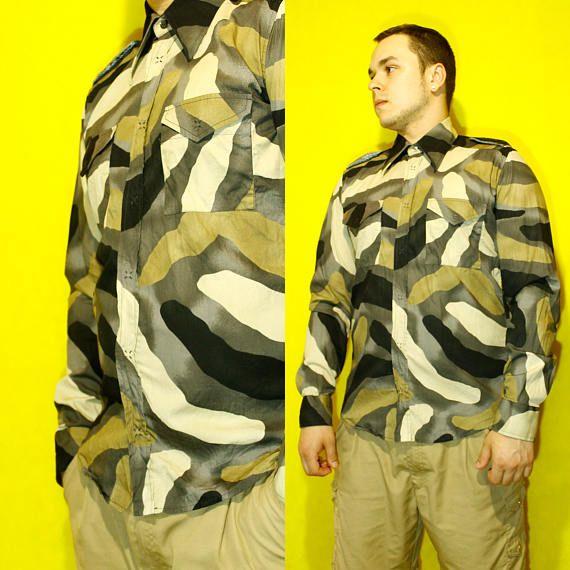 Iceberg Camo Shirt Button Down velours shoulder straps shirt