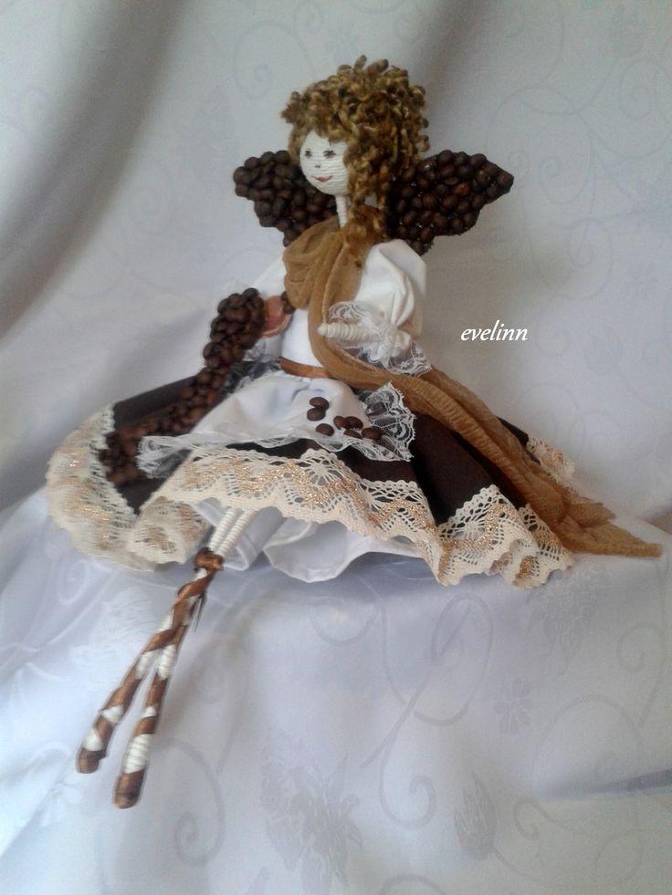 aniołek kawowy na bazie szyszki