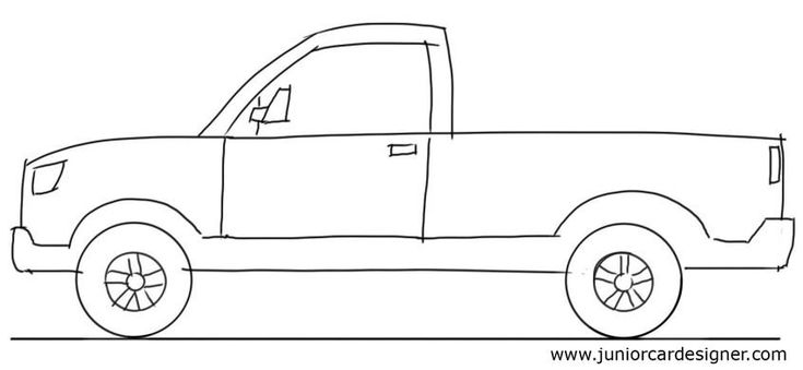 Car Drawing Tutorial Pick Up Truck Side View Car
