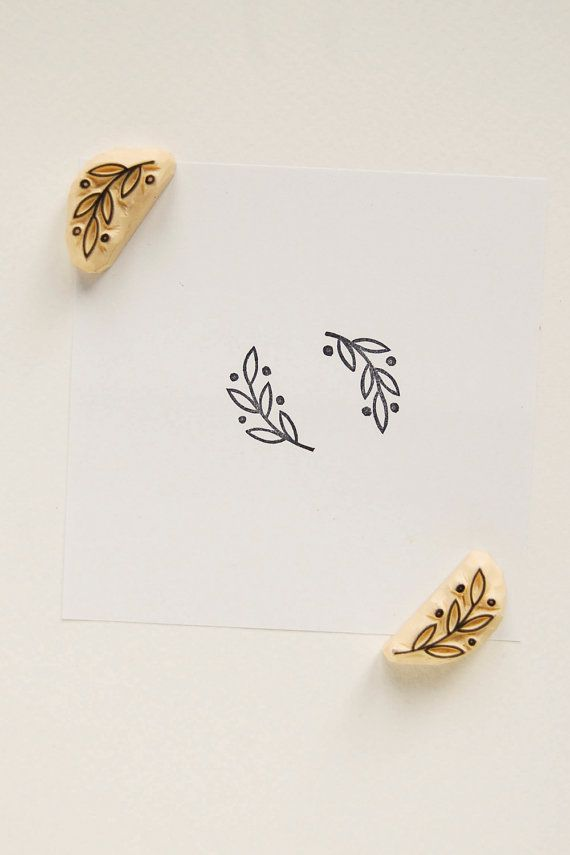 Stylized olive branch or laurel branch stamps. They will perfectly decorate packaging paper, post card or become a signature for your letters. Each stamp is caved from quality rubber by hand. The color of gum we use differs from piece to piece, so your stamp may be a little bit
