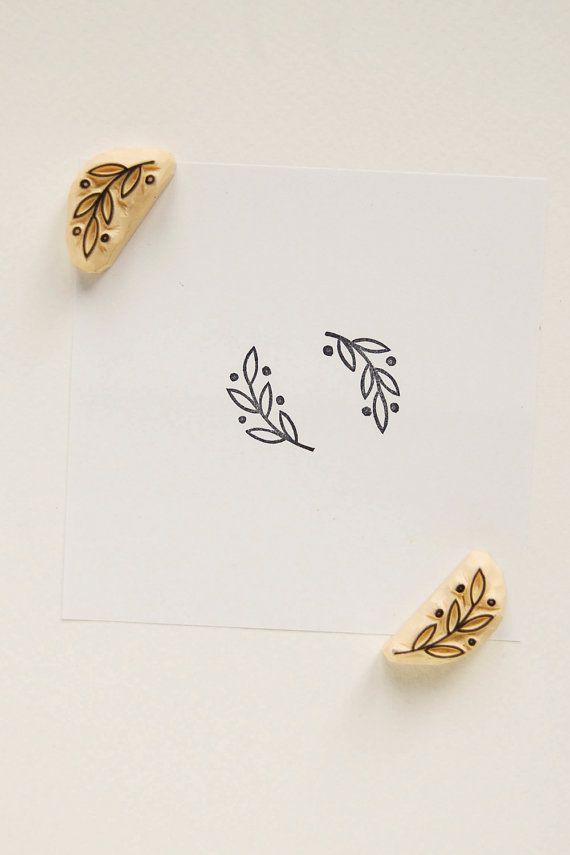 Small laurel stamp set of 2, Handmade olive branch rubber stamps, Botanical wedding stationery, simple holiday decor, cardmaking suppliesChanitsara Thapjunta