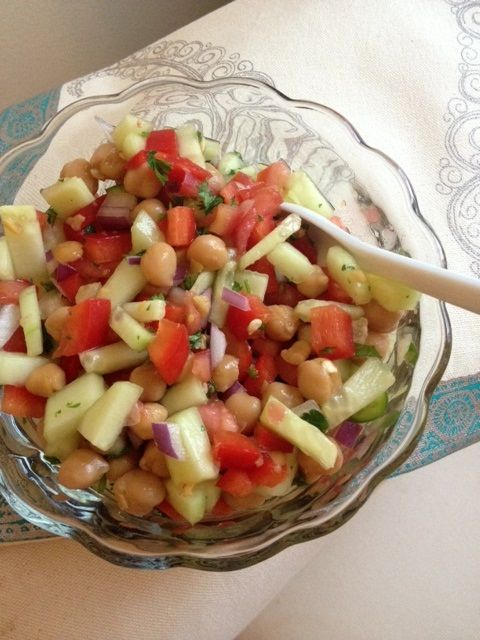 Mediterranean salad.  Works well with the TLS eating plan.  You could even make this for detox week, just leave out the chickpeas.