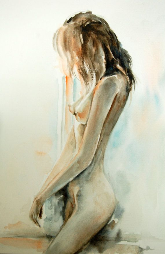 Woman Figure Nude Original Watercolor Painting, Woman Figurative Art - Sunlight Moment on Etsy, $140.00
