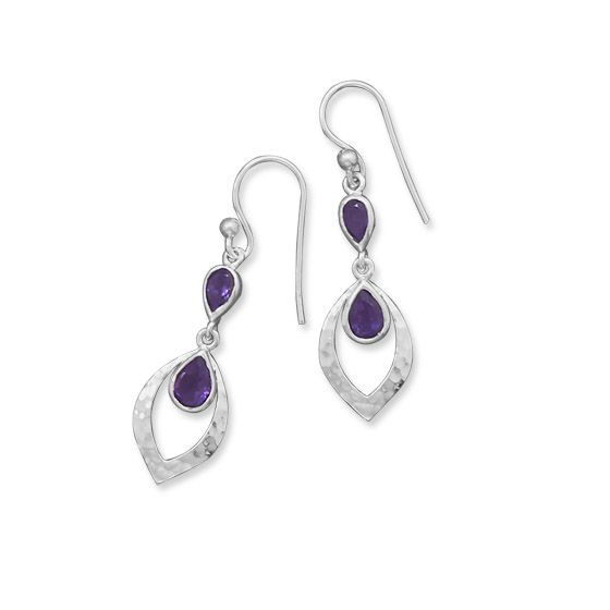 Hammered Drop Earrings with Amethyst