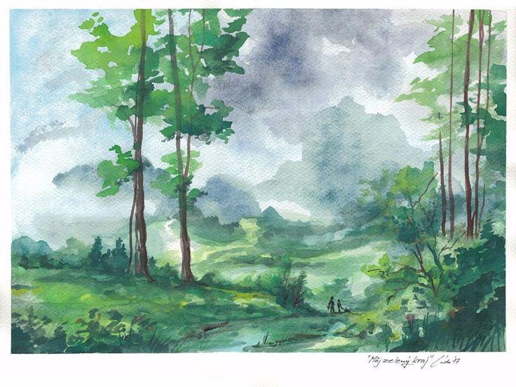 Watercolor Painting Original Landscape Green Forest #IllustrationArt