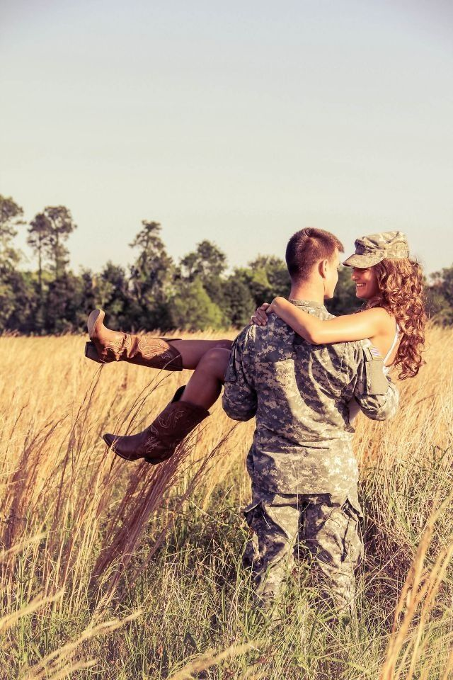 Could be cute with a country couple and a cowboy hat...but is adorable with the solder and his gal!