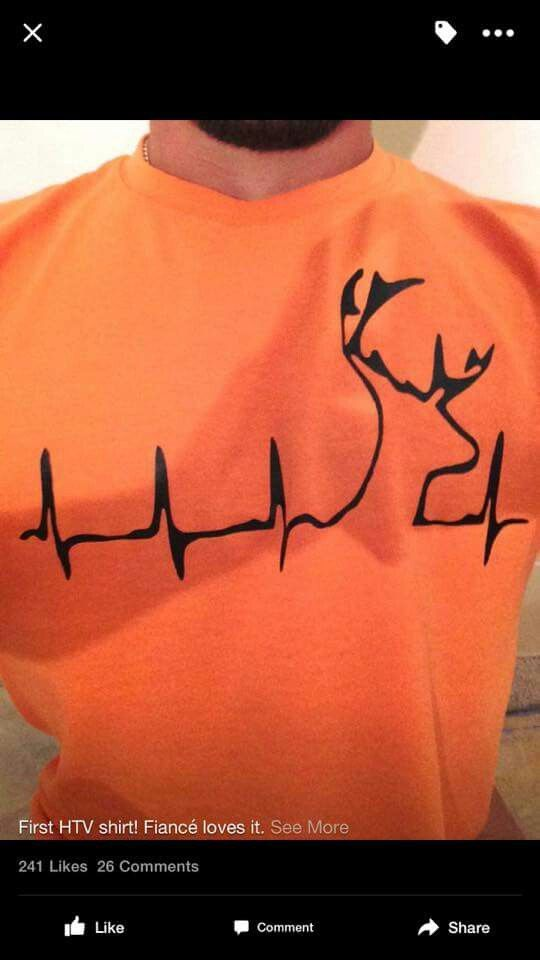 DIY Hunting shirt made with heat tranfer vinyl (AKA HTV or iron on vinyl). Deer head in a heart beat on an orange shirt for those who love to hunt. A …