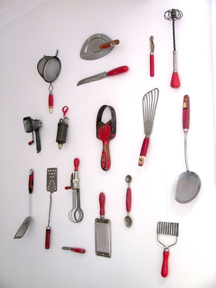 Unusual Cooking Utensils | ... my Kitchenalia wall [collection of red vintage cooking utensils