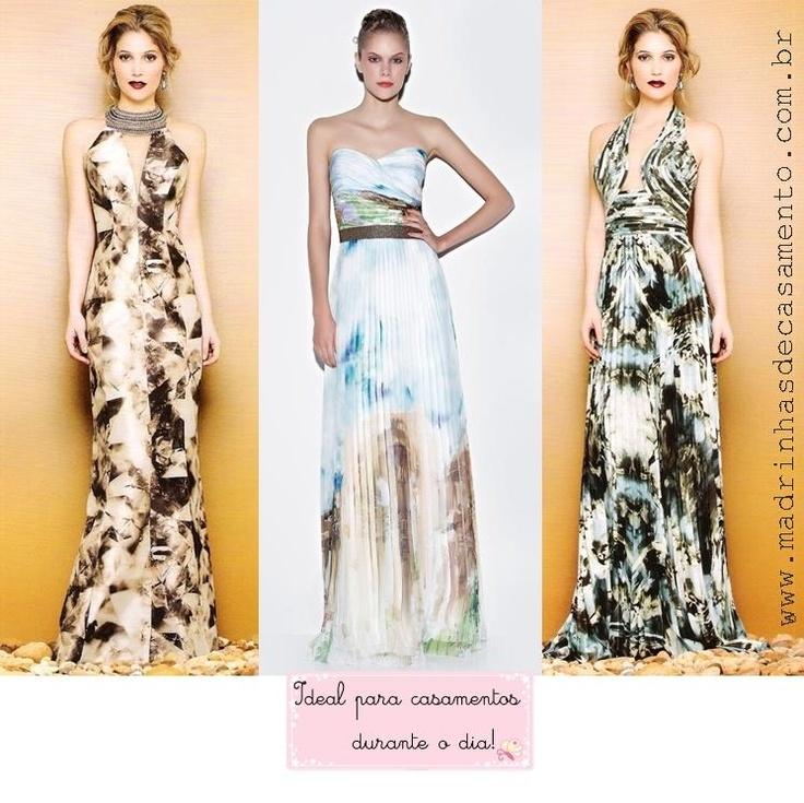 Madrinhas de casamento: Vestidos de festa estampados ( para o dia e para a noite)