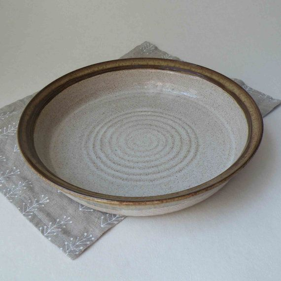 10  Speckled White Baking Dish with Golden Brown Edge -- Rustic Pottery Ovenware - & 160 best Pottery - Serving Plates images on Pinterest | Ceramic art ...