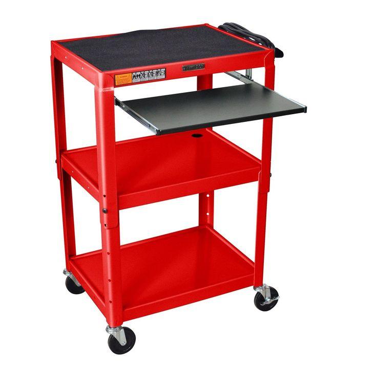 Mobile Stand Up Computer Desk Workstation Cart in Red Steel