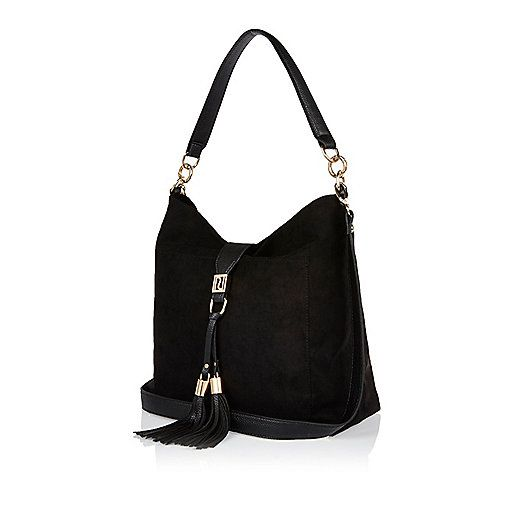 Black tassel front slouchy handbag - shoulder bags - bags / purses - women