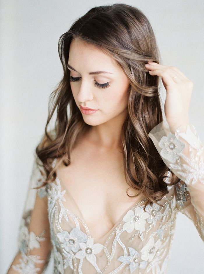 Romantic Glam Bridal Makeup with an Embroidered Wedding Dress