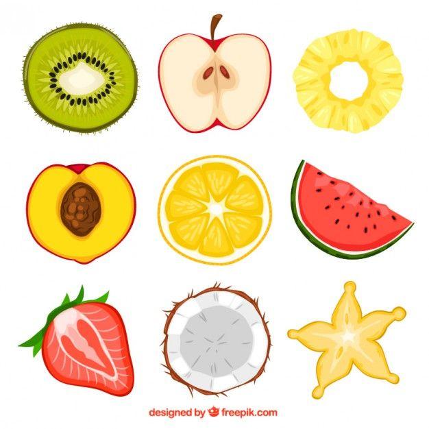 Mitades de la fruta