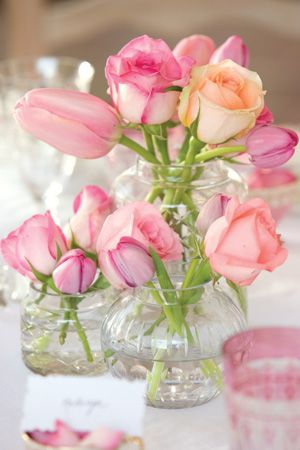 rose-hued centerpieces