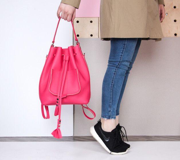 Skórzany worek   plecak   torba różowa