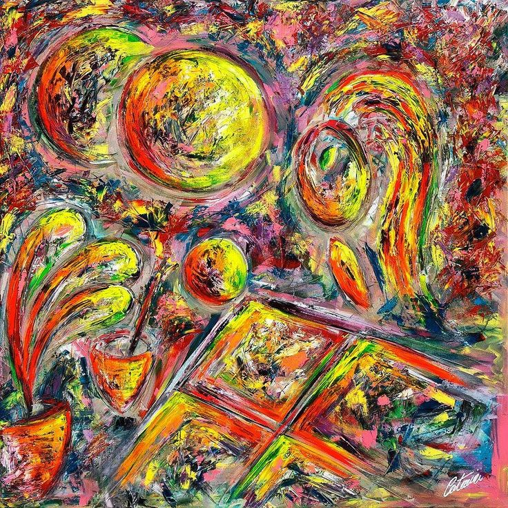 "Title: ""A WOMAN PAINTING"" #art #contemporaryart  #painting #artist #cesarecatania  www.cesarecatania.eu  In this work Cesare Catania represents a woman painting. In the foreground on the left a vase of flowers central to the painting a glass of water with a paintbrush . Always in the foreground a canvas and a sphere that rolls on its edge. In the background on the left the sun and its shadow. All figures and objects of this work have contours and colors that are not well defined: a fast and…"