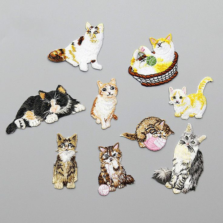Animal Cats Embroidered Iron on Applique Patch Dress Coat Blouse Bags Sew-On #Unbranded