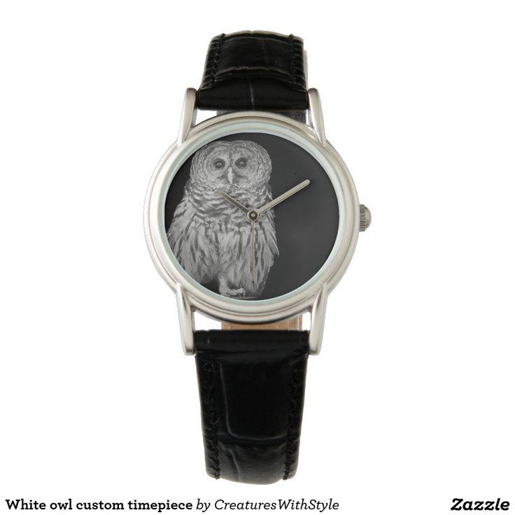 White owl custom timepiece wristwatch