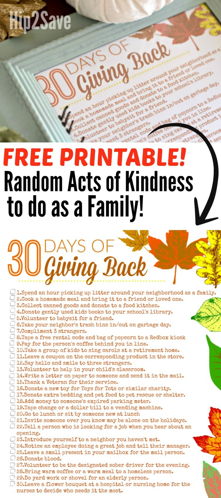 30 Days of Giving Back (Free Thanksgiving Acts of Kindness Printables) – Hip2Save