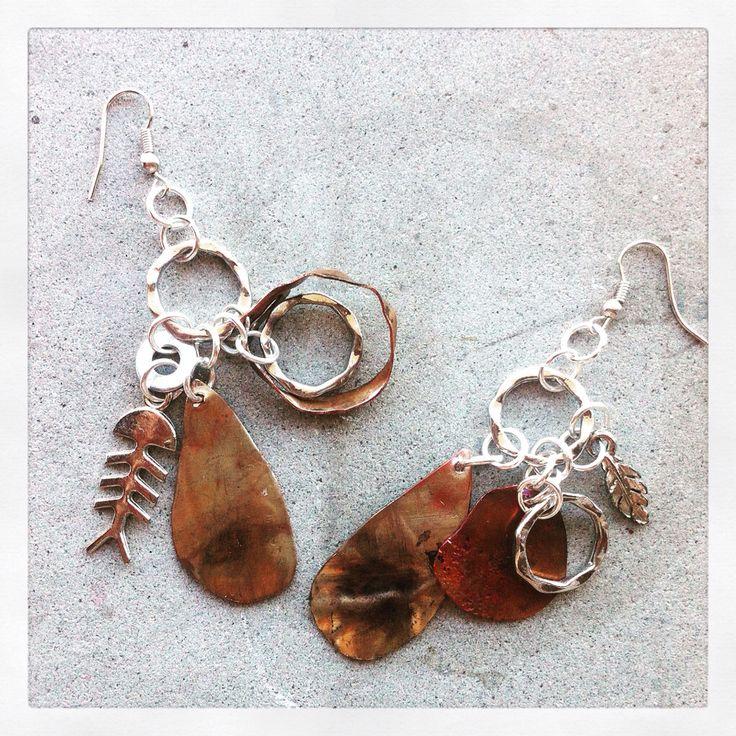 Orecchini in rame acciaio e argento/copper earrings with silver and steel...by Serendipity  #orecchini #earrings #rame #copper #handmade #handmadeitaly https://www.facebook.com/serendipitystudioarte/