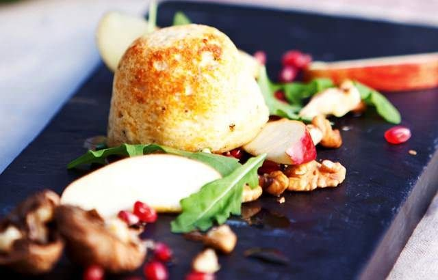 Cheese soufflés with apple, walnut and pomegranate salad | Recipe