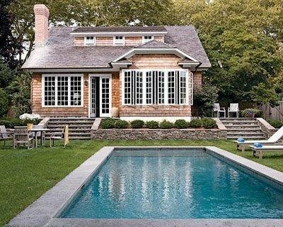 Pool House: Dreams Home, Small Pools, Beaches House, Window, Guest House, Pools House, Backyard, Landscape Ideas, Plunging Pools