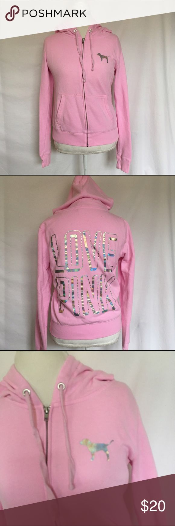 PINK Hoodie Light pink Victoria's Secret hoodie with hologram print on front and back. In great condition. 100% cotton PINK Victoria's Secret Tops Sweatshirts & Hoodies