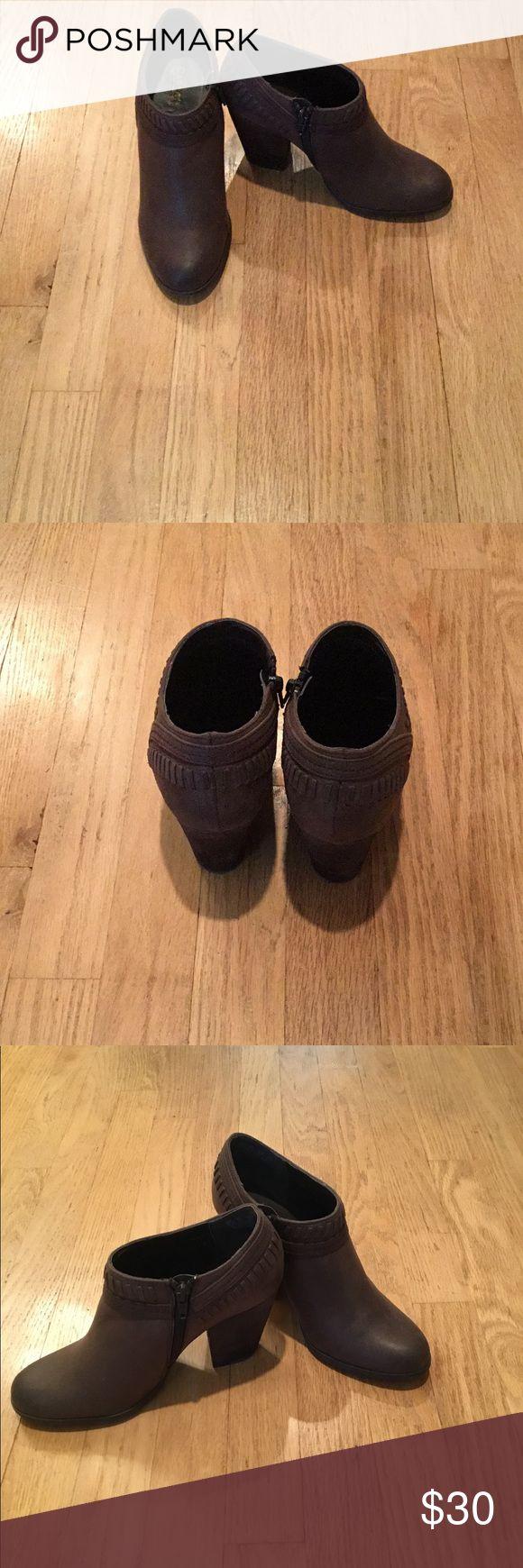 Carlos Santana Booties Dark brown. Worn twice. Normal wear on the heels due to being worn outdoors. Carlos Santana Shoes Ankle Boots & Booties