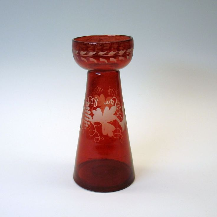 Unusual Victorian engraved cranberry Hyacinth bulb vase, Shop Rubylane.com