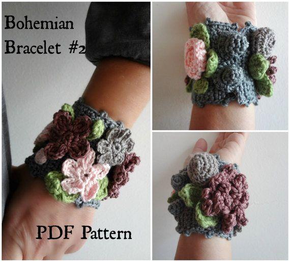 Crocheted Bohemian Bracelet #2 PDF Crochet Pattern - crocheted bracelet, flower bracelet, crocheted  accessory, a photo tutorial, download