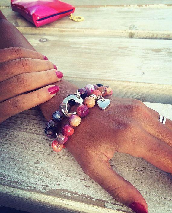 Beaded bracelet Set of bracelets hand made Agate от Monamibijoux