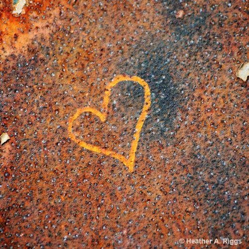 Heart Graffiti orange blue rust gold love 5x5 by shyphotog on Etsy, $15.00