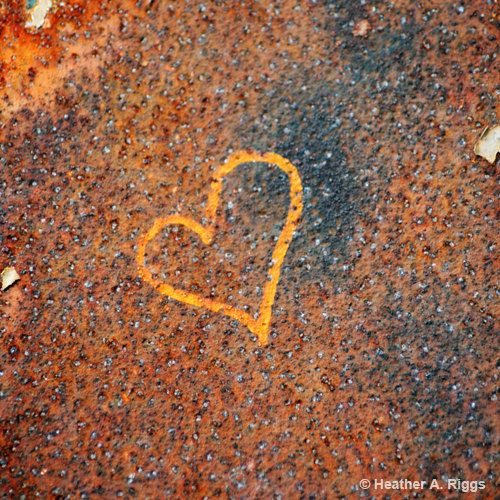 Heart Graffiti, orange, blue, rust, gold, love, 5x5. $15.00, via Etsy.