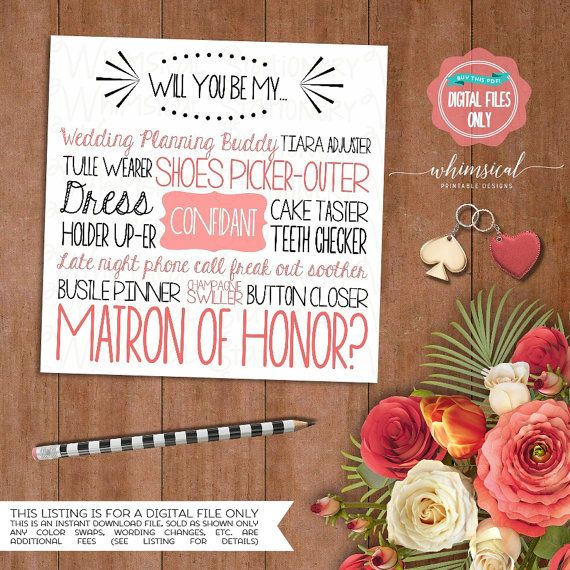 "Ask Matron of Honor Proposal Card ""Cake Tasting"" (Printable File Only) Ask Bridesmaid Be In My Wedding Silly Wording Dress Holder Up-er"