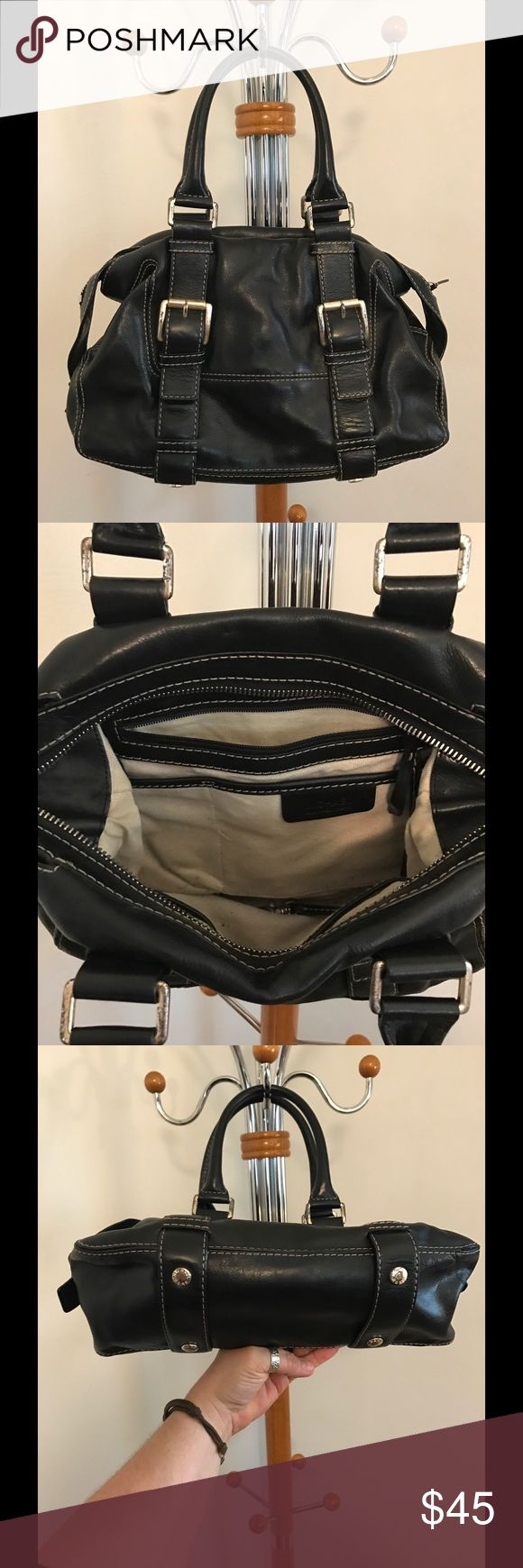 Michael Kors black purse Michael Kors Black purse with gold hardware. The hardware is a little scuffed up.  Pen marks on the inside lining of the bag.  Outside leather is in great condition. Michael Kors Bags Satchels
