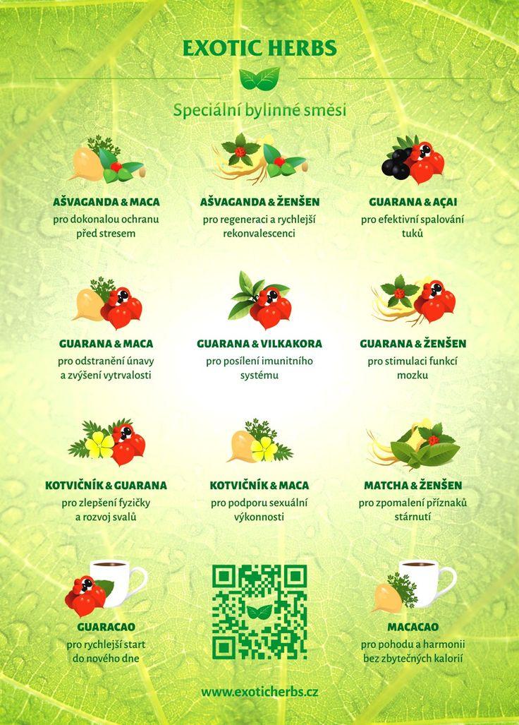 Speciální kombinace exotických bylinek a superpotravin se synergickým působením.  #infografika #superpotraviny #superfoods