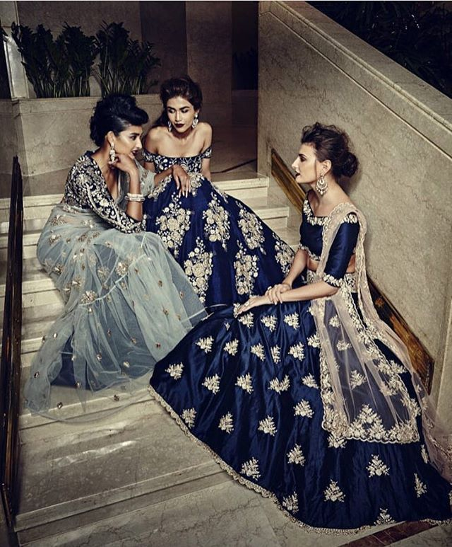 Feeling blue ? We definitely do looking at these @payalsinghal outfits | #lehenga #gown #cocktail #indianbride #brides #wedding #indianwedding #bridesmaids #indianfashion #fashion #indianwear #sangeet #blue