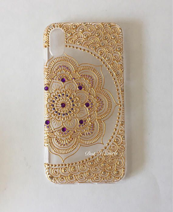 This is the listing for Luvvitt Clear View iPhone 7 Case / iPhone 8 Case with Hybrid Scratch Resistant Back Cover and Shock Absorbing Bumper for Apple iPhone 7 (2016) and iPhone 8 (2017) - Crystal Clear decorated with gold henna mandala. The transparent background provides slim and crisp