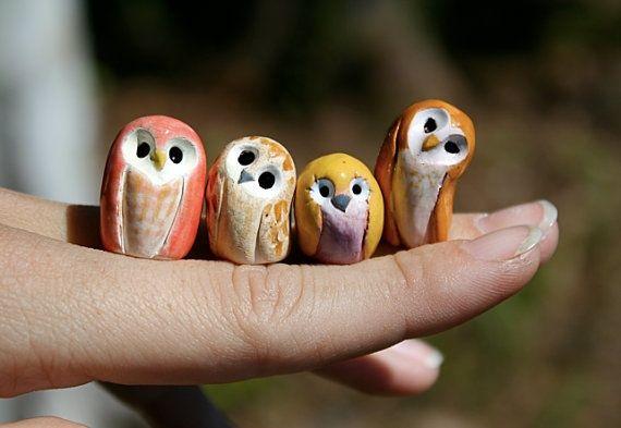 Cutest little owls, (Polymer clay) by Roseann Todd