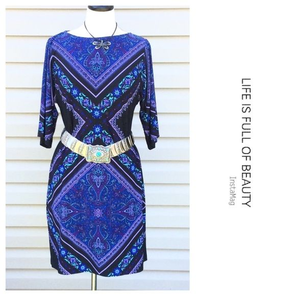 "Host Pick NWT Versona Multi Color Dress Size 4  Host Pick for the Weekend Warrior Party 4-9-16 Chosen by @thirteensporks ❤️ NWT Versona Multi Color Dress, Size 4. Belt is Not Included. Material: 95% Polyester, 5% Spandex. Machine or Hand Wash Cold. Mannequin is a 36-24-36. Measurements laying flat: Bust 18"", Sleeves 14"", Length 36"".  NO TRADES OR LOWBALL OFFERS Versona Dresses Midi"