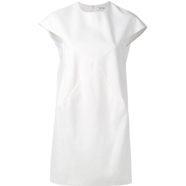 Courrèges short x cut-out dress (33.310 ARS) ❤ liked on Polyvore featuring dresses, white, straight dresses, zip back dress, cut-out dresses, white cut-out dresses and white shift dress