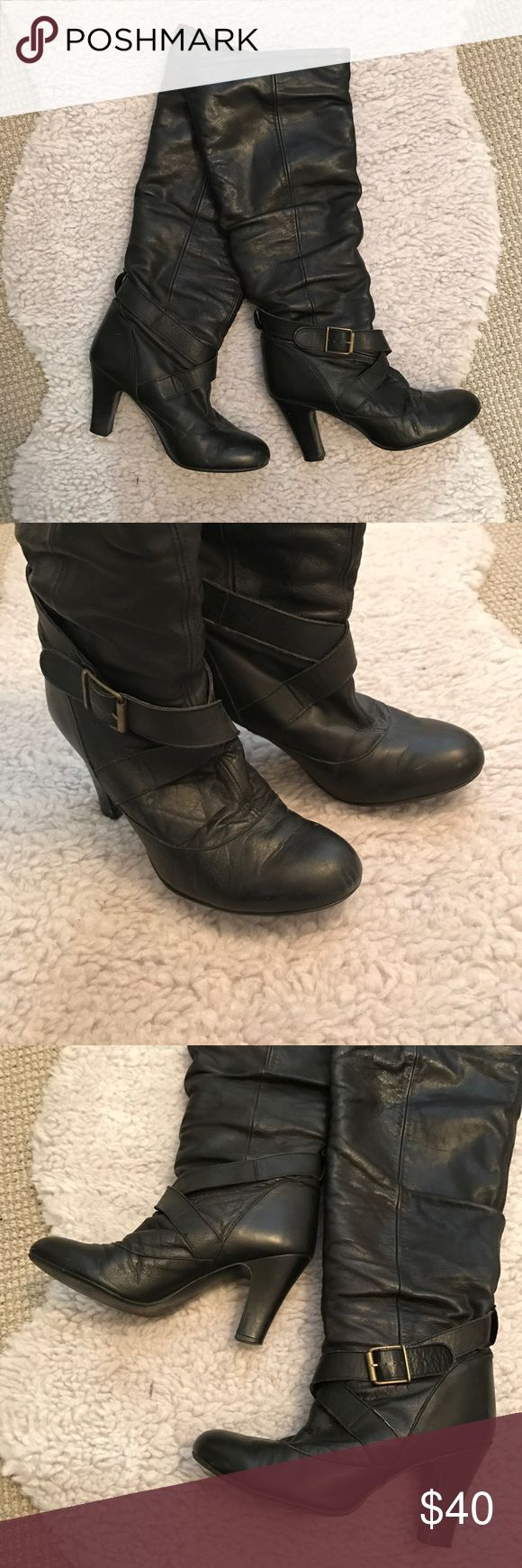 Steve Madden - Tall Black Boots with Buckle Detail Steve Madden - Tall Black Boots with Buckle Detail Steve Madden Shoes Heeled Boots